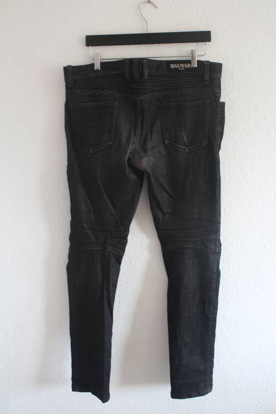 Balmain AW12 Iconic Black Distressed Oiled Skinny Biker Size US 33 - 4
