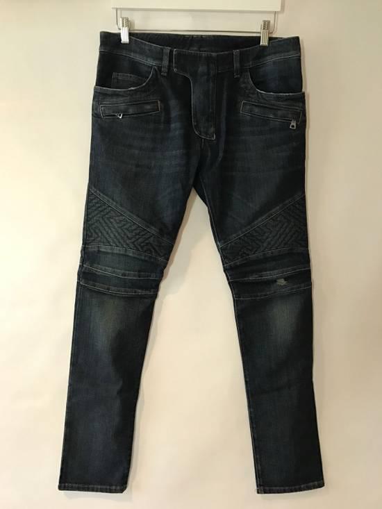 Balmain Balmain Geometric Quilted Paneled Biker Denim Jeans Size 32 Size US 32 / EU 48