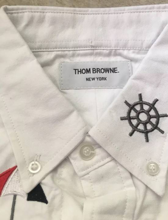 Thom Browne White - Nautical Embroidered All-Over Icon Oxford Size US L / EU 52-54 / 3 - 2