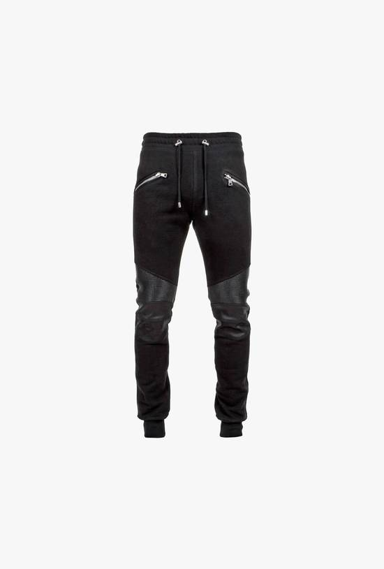 Balmain Leather and cotton biker sweatpants Size US 32 / EU 48