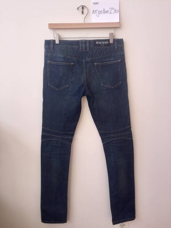 Balmain BLUE GEOMETRIC STRETCH DENIM TRAPUNTO QUILTED BIKER JEANS Size US 29 - 10