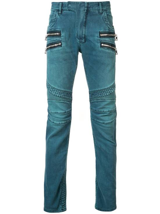 Balmain Turquoise Double Zip Biker Jeans Size US 34 / EU 50 - 1