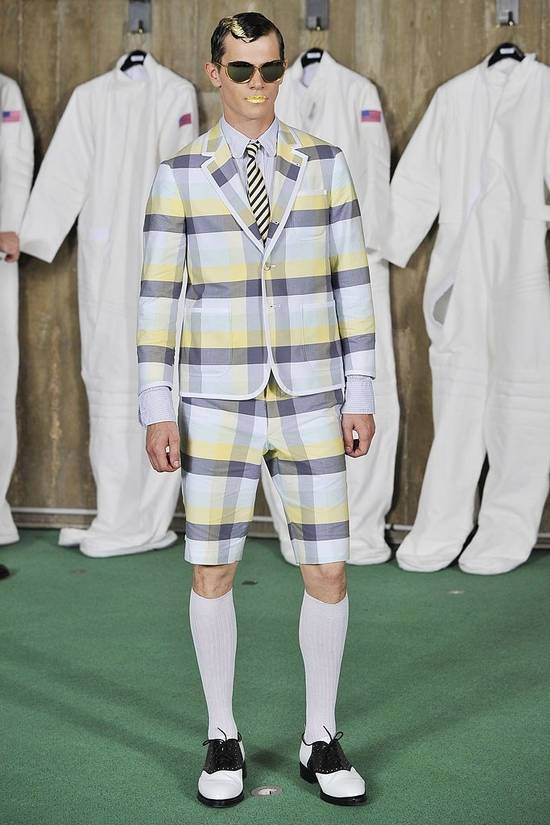 Thom Browne Thom Browne Spring 2011 Size 0 Jacket Yellow Gray Light Blue Plaid Blazer Size 36R - 8