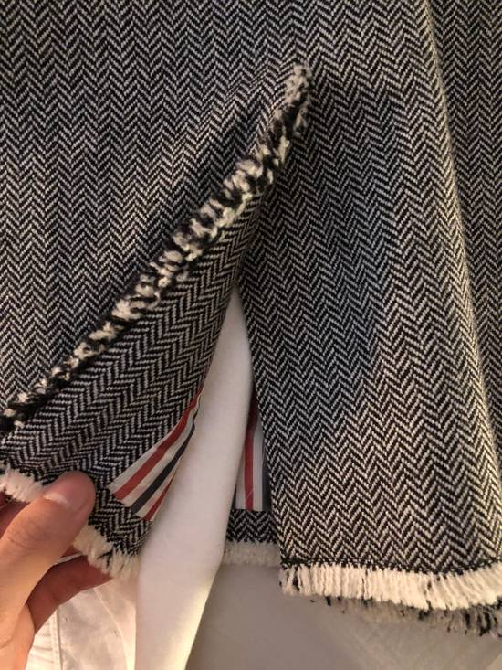 Thom Browne Frayed Wool High Arm Sportcoat Grosgrain Pattern Size 34R - 6