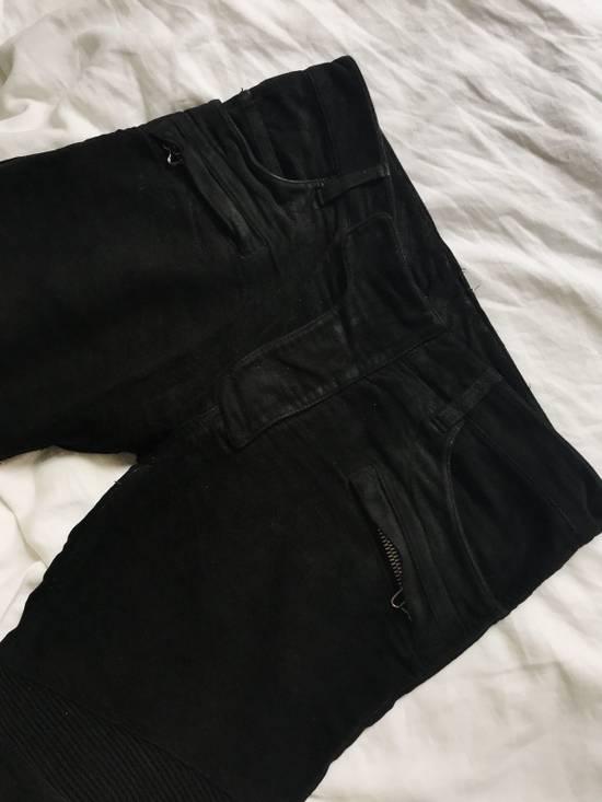 Balmain BALMAIN FW2009 Mens Black Coated Biker Denim Jeans Pants Decarnin Era Size US 32 / EU 48 - 2