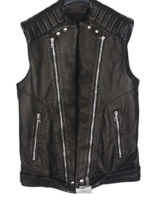 Balmain biker leather vest Size US M / EU 48-50 / 2
