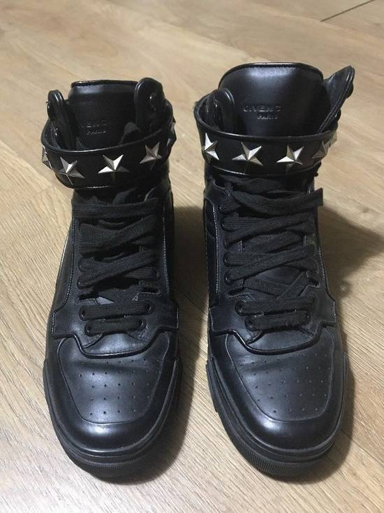 Givenchy Black Leather Tyson Star Hi Top Sneakers Size 9 UK 43 Silver Calf Boots Size US 9.5 / EU 42-43 - 1
