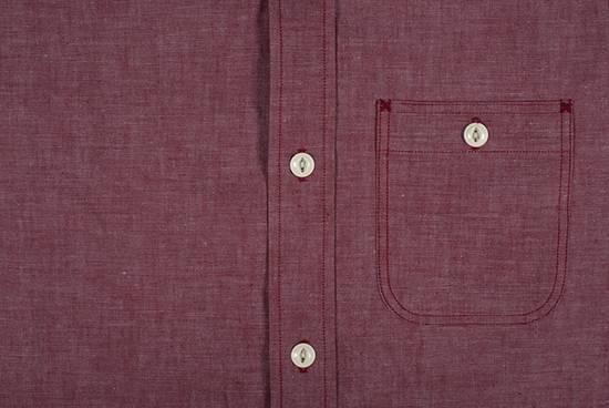 "Self Edge The Roy ""Big Bro"" Red Chambray Short Sleeve Shirt Size US XXL / EU 58 / 5 - 3"