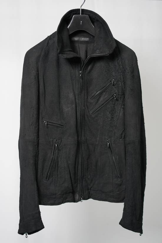 Julius AW12 Black Destroyed Lamb Jutneck Leather Jacket Size US M / EU 48-50 / 2