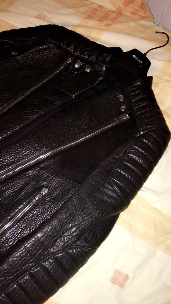 Balmain Balmain Black Leather Collared Biker Jacket Size US M / EU 48-50 / 2