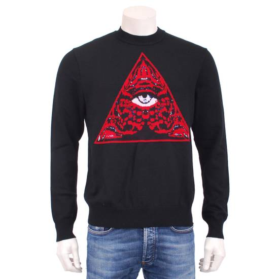 Givenchy Black Wool Knit Sweater With Red 'Eye of Providence' on front Size US L / EU 52-54 / 3