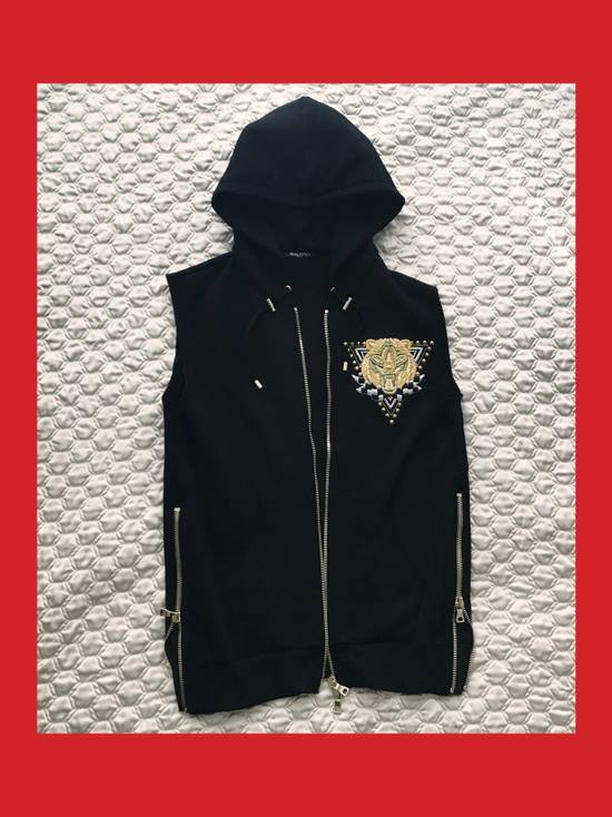 Balmain Cotton Jersey Sleeveless Hoodie with Badge / Embroidered Zip Vest Size US M / EU 48-50 / 2 - 1