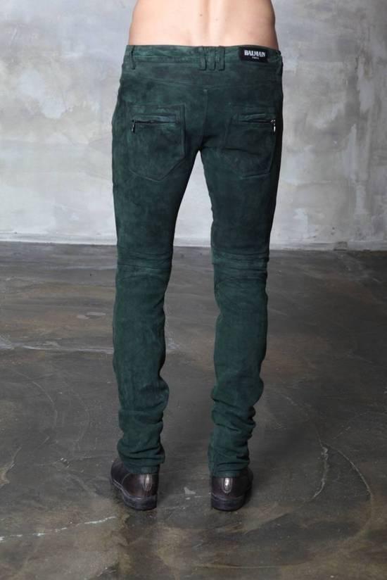 Balmain Balmain Green Lamb Suede Leather Biker Pants Size: 28-XS Size US 28 / EU 44 - 2