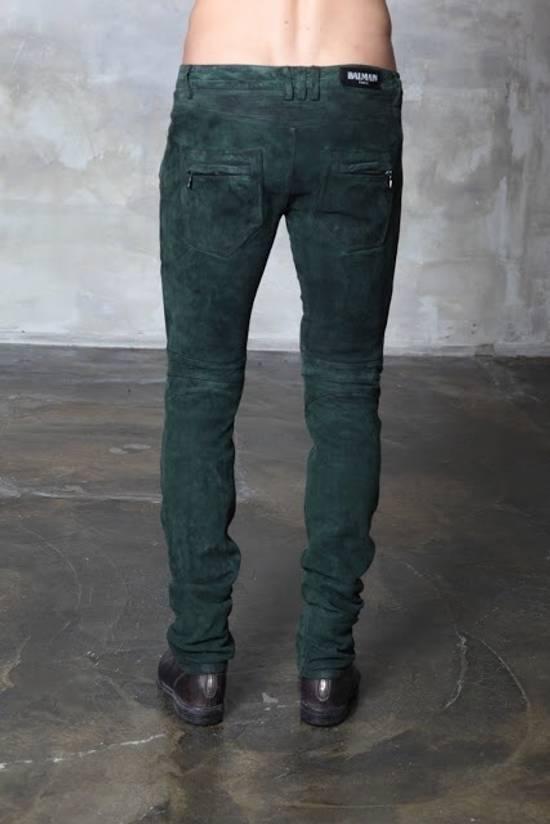 Balmain Balmain FW 2012 Green Suede lambskin Pants Size US 29 - 2