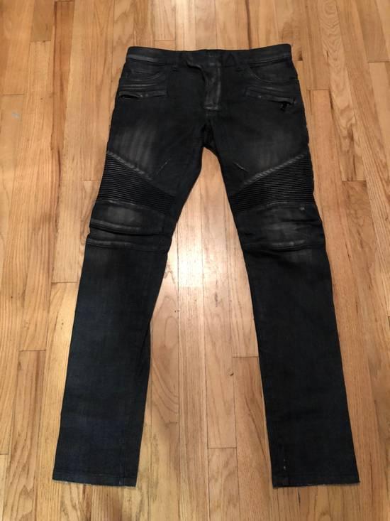 Balmain Balmain Biker Jeans Dark Grey Distressed Size US 31