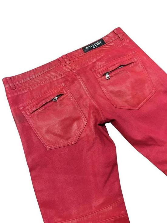 Balmain Balmain Signature Men's Wax Coated Denim Scarlet Red Motto Zip Jeans sz 36 Size US 36 / EU 52 - 3