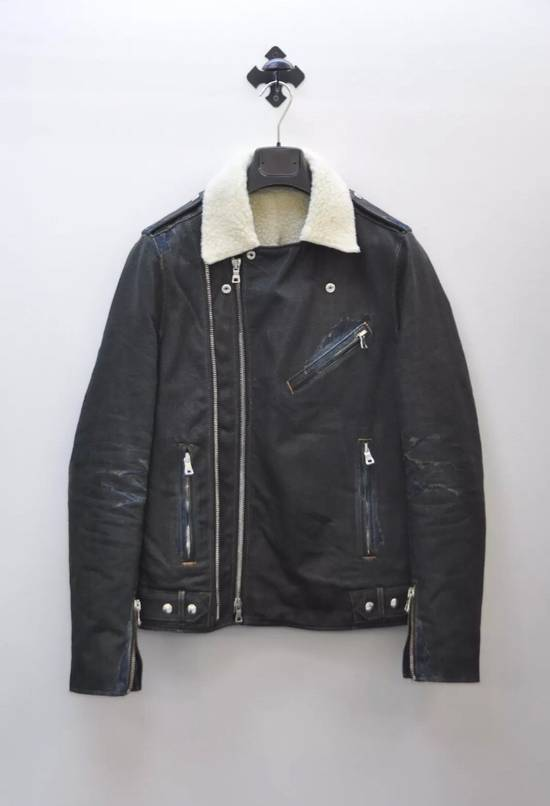 Balmain Balmain shearling and cotton biker jacket with destroyed effect Size US L / EU 52-54 / 3 - 1
