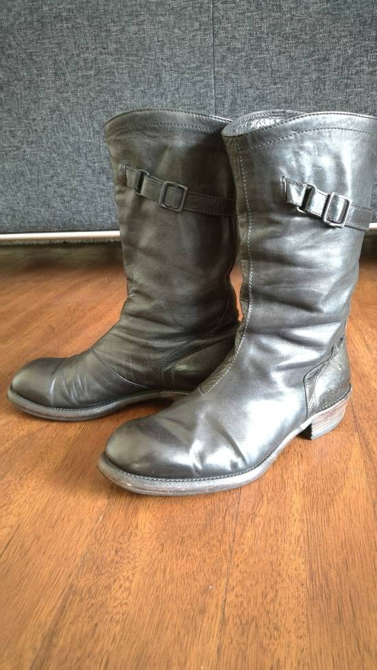 Julius 2008SS Black Horse Hide Tall Leather Strap Boots Size US 11 / EU 44 - 2