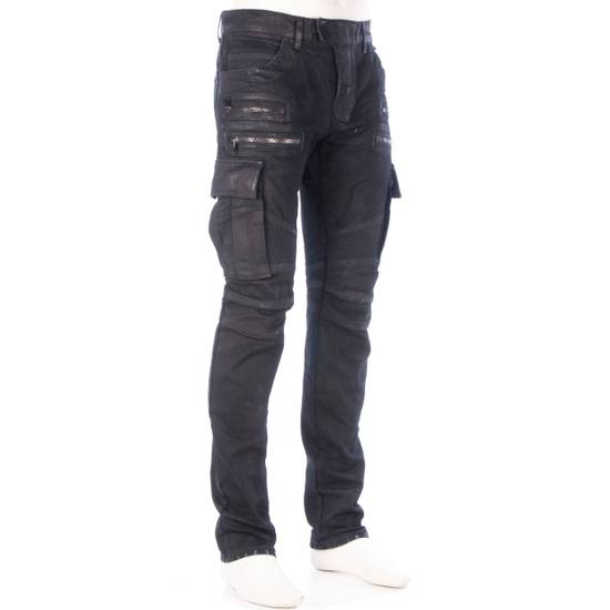 Balmain 1495$ Waxed Cargo Biker Jeans In Black Denim Size US 32 / EU 48 - 7