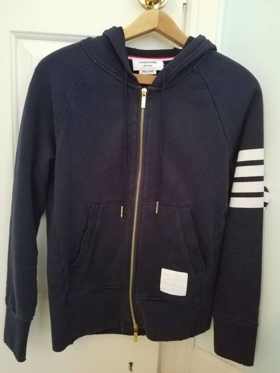 Thom Browne Navy 4 Bar Distressed Hoodie Size US M / EU 48-50 / 2
