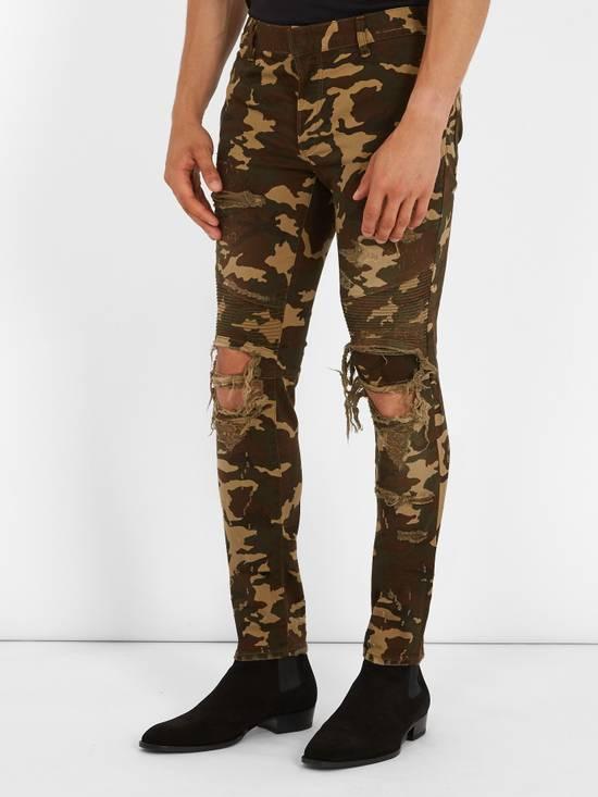 Balmain Size 36 - Heavily Distressed Camo Biker Jeans - FW17 - RARE Size US 36 / EU 52 - 18