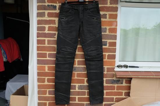 Balmain Black Waxed Biker Jeans Size US 30 / EU 46