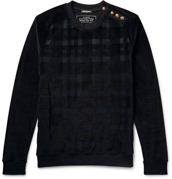 Balmain Size Small - Checked Button Shoulder Sweatshirt- FW16 - $1050 Retail Size US S / EU 44-46 / 1 - 10