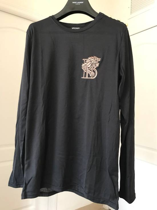 Balmain Lion Embroidered Long- Sleeves Tee Size US XL / EU 56 / 4