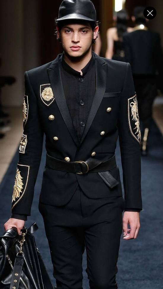 Balmain Black Mandarin Collar Wrinkle Effect Utility Shirt Size US M / EU 48-50 / 2 - 6