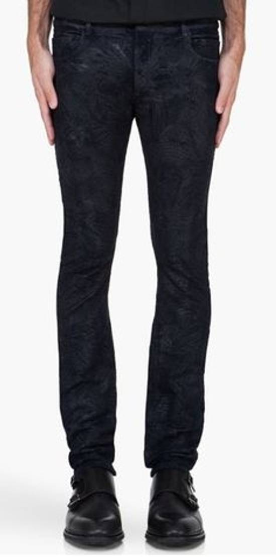 Balmain Midnight Blue Waxed Embroidered Jeans Size US 27 - 16