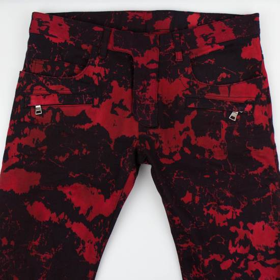 Balmain Red Camouflage Denim Straight Leg Jeans Pants Size US 30 / EU 46 - 2