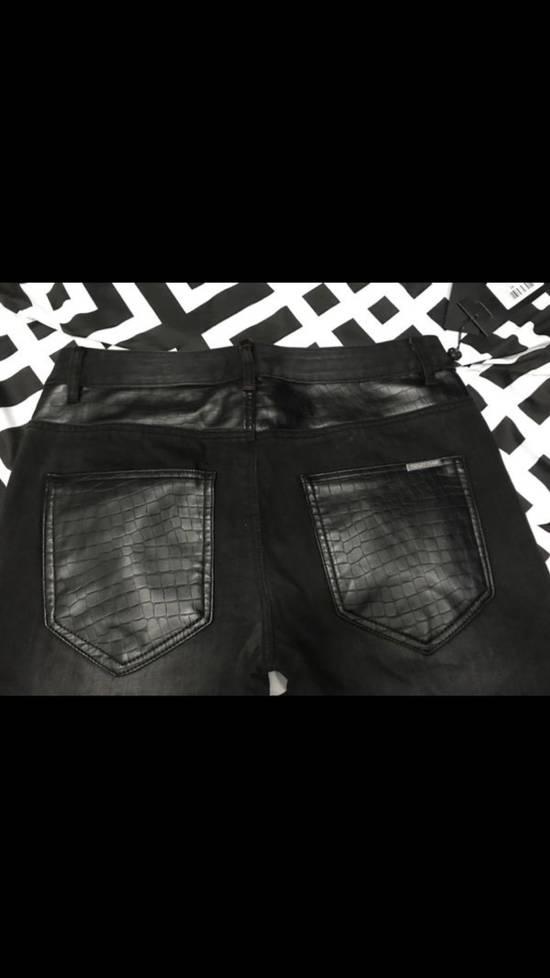 Balmain NWT Phillip Plein 1978 Balmain Denim Leather Jeans Size 34 Size US 34 / EU 50 - 4