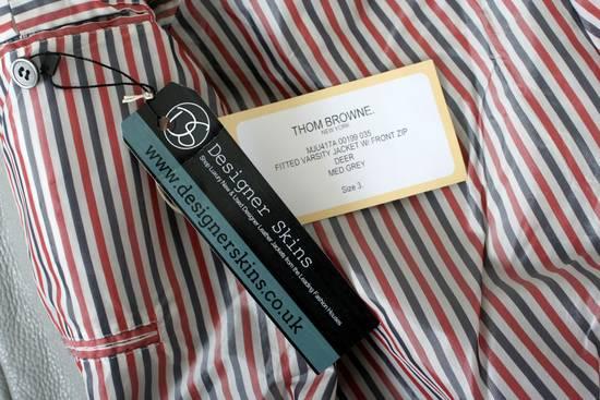 Thom Browne Thom Brown Deerskin Leather Varsity Jacket Grey Size 3 EU50 Medium RRP $3325 Size US M / EU 48-50 / 2 - 1