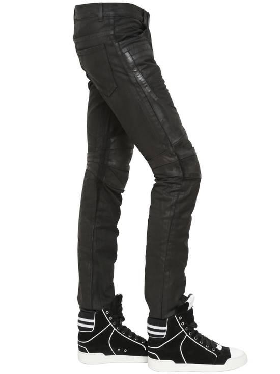 Balmain Balmain Leather & Cotton Black Denim Biker $1680 Authentic Jeans Size 33 New Size US 33 - 4