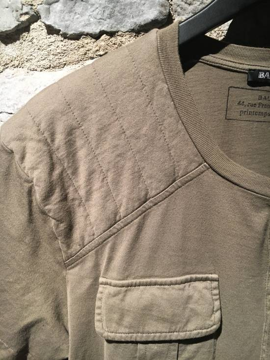 Balmain Balmain Khaki T-Shirt with Kangaroo Pockets Size US L / EU 52-54 / 3 - 1