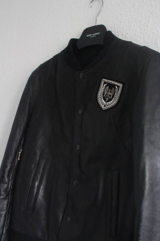 Balmain SS11 Decarnin Teddy Varsity Black Leather Jacket Kanye West 1of1 Size US L / EU 52-54 / 3 - 3