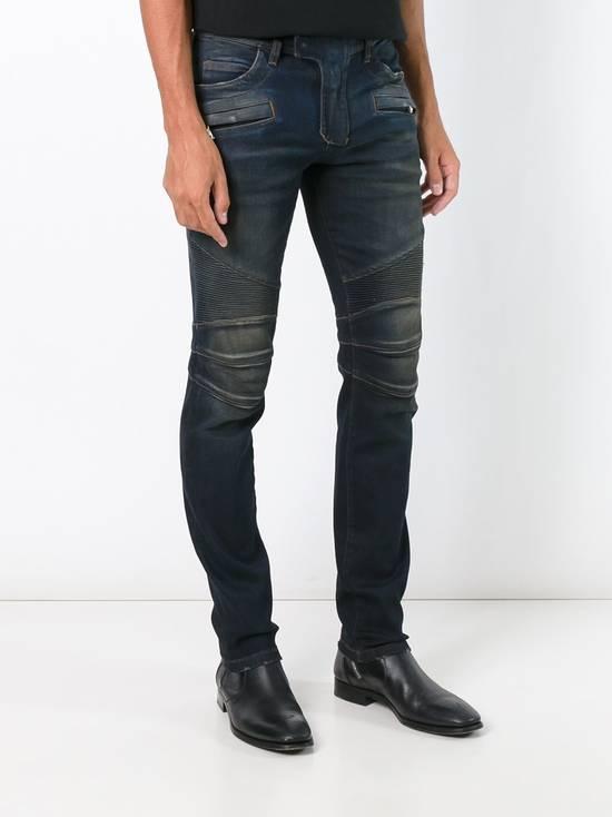 Balmain Dirty Blue Biker Jeans Size US 27 - 2