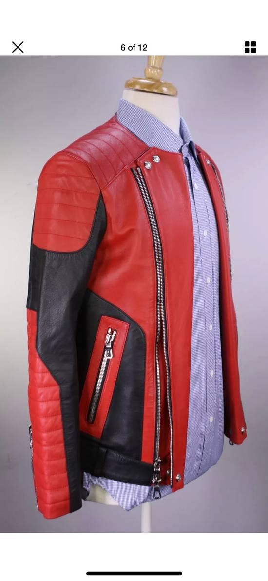 Balmain H&M x Balmain Red Leather Biker Jacket Size US S / EU 44-46 / 1 - 4