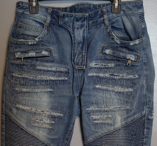 Balmain SLIM-FIT COTTON DENIM BIKER JEANS Size US 35 - 1