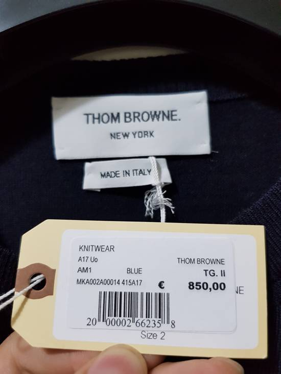 Thom Browne THOM BROWNE CREWNECK PULLOVER WITH 4-BAR STRIPE IN NAVY MERINO Size US M / EU 48-50 / 2 - 1