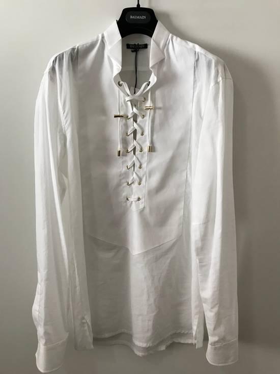 Balmain Size 39 - White Lace-Up Cotton Shirt - SS17 - $1200 Size US M / EU 48-50 / 2