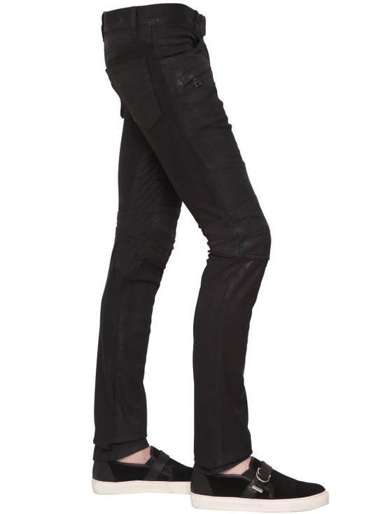 Balmain Balmain Black Denim Coated Authentic Biker $1230 Jeans Size 31 New Size US 31 - 3