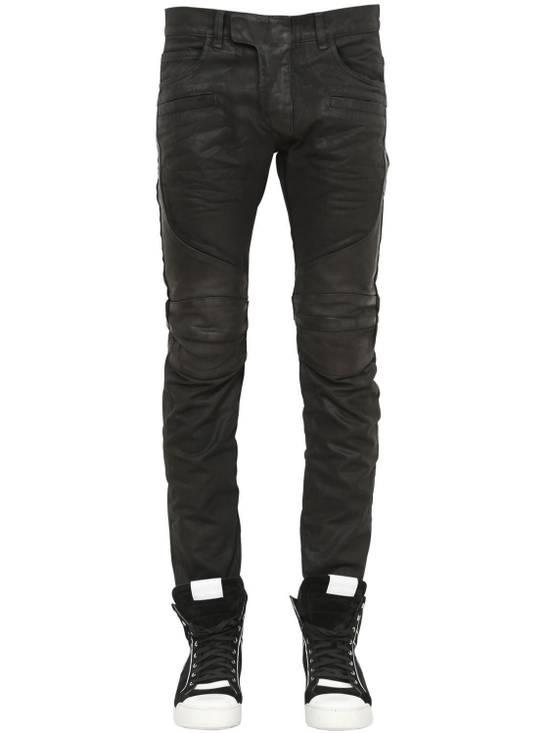Balmain Balmain Leather & Cotton Black Denim Biker $1680 Authentic Jeans Size 33 New Size US 33