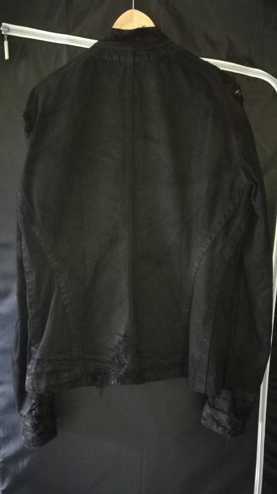 Julius 2009AW Coated Distress Denim Biker Jacket Size US L / EU 52-54 / 3 - 6