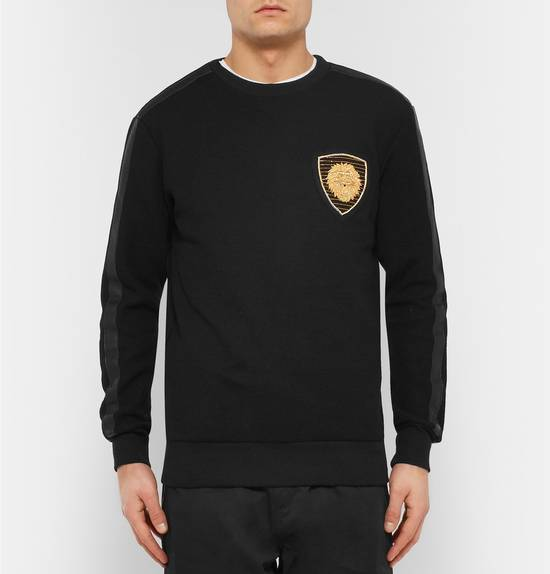Balmain (PRICE FIRM) $1305 Balmain Leather Trimmed Cotton Floyd Mayweather Sweatshirt Size US L / EU 52-54 / 3 - 2