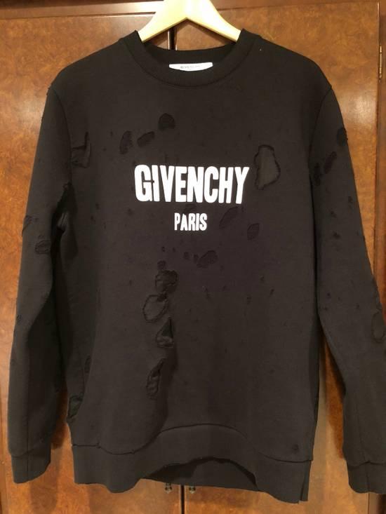 Givenchy Givenchy Black Distressed Logo Sweatshirt Size US M / EU 48-50 / 2