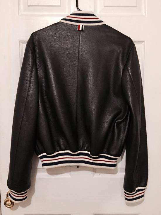 Thom Browne Black Leather Varsity Jacket (NEW W TAG) Size US XS / EU 42 / 0 - 2