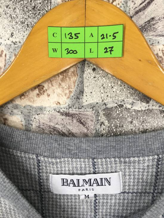 Balmain BALMAIN PARIS Sweatshirt Checkered Medium Gray Vintage 90s Balmain Plaid Checkered Balmain Paris Pullover Jumper Size M Size US M / EU 48-50 / 2 - 2