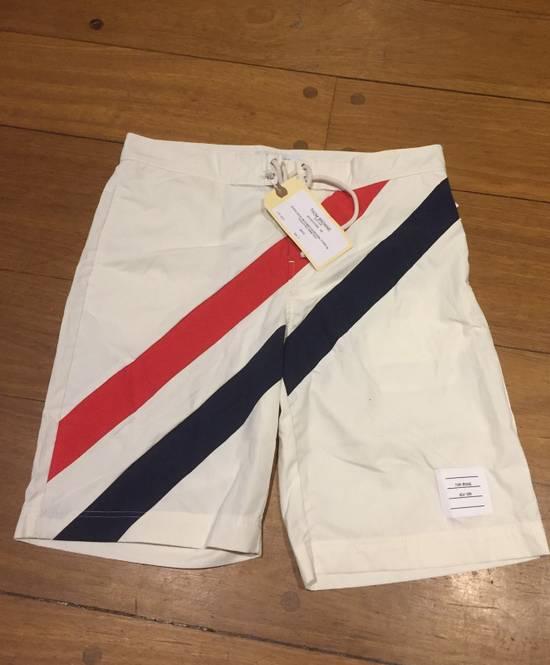Thom Browne Need Gone NWT Off White Board Shorts Diagonal Stripe Size 3 Size US 32 / EU 48 - 1