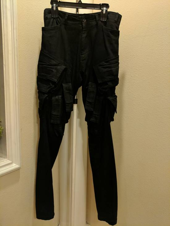 Julius Mint Archive Prism SS15 Runway Cargo Pants in black waxed stretch denim size 2 Size US 31 - 3